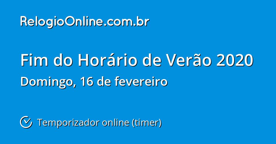 916024e2429 Fim do Horário de Verão 2020 - Temporizador online (timer) -  RelogioOnline.com.br